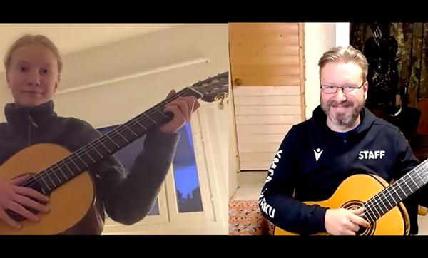 Musiikkiopiston soitonopetusta etänä